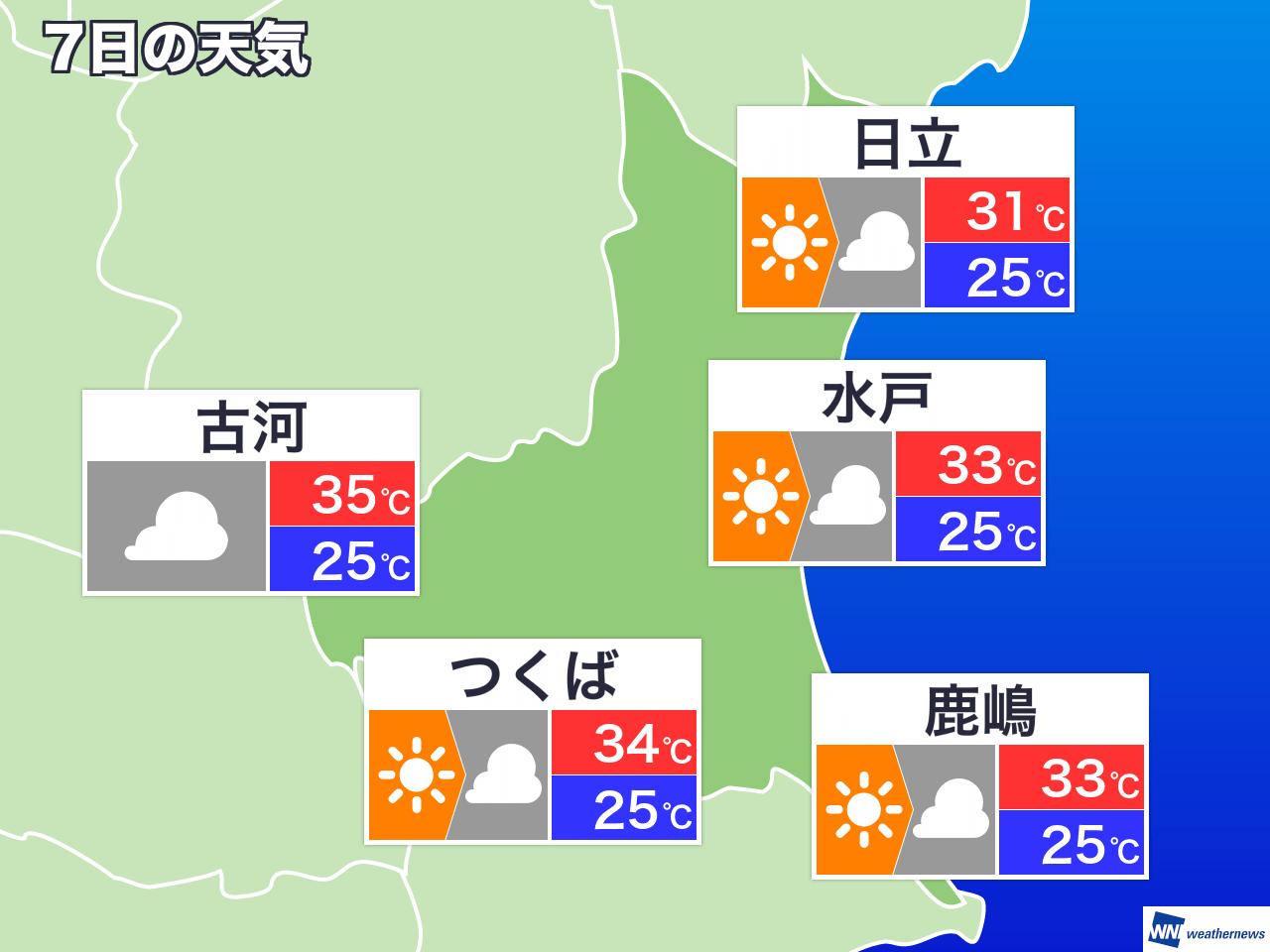 10月10日(木) 茨城県の今日の天気 - ウェザーニュース