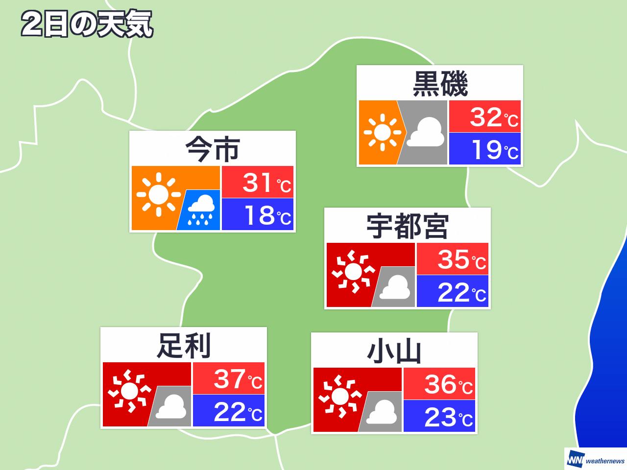 日間 栃木 県 天気 10