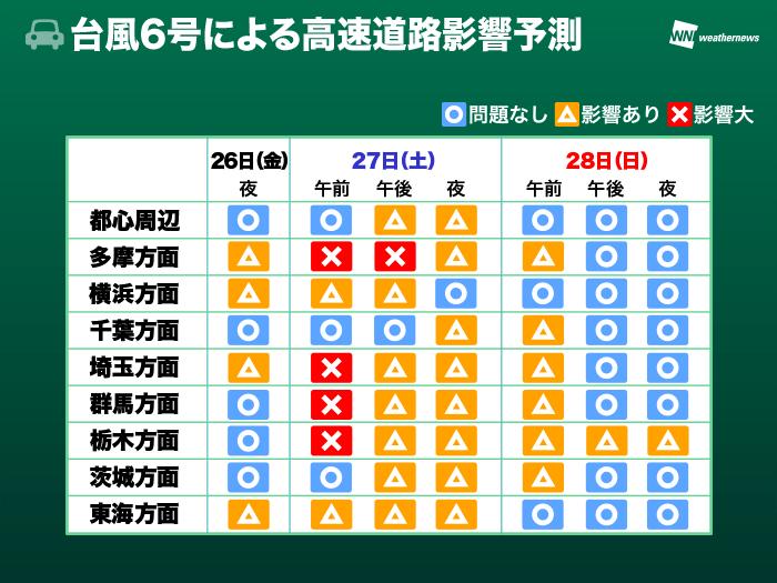 【天気】台風6号 電車や高速道路に影響出るおそれ 運行状況の確認を 道路、鉄道、空の影響予測表 (07/26 18:16予報) ->画像>12枚